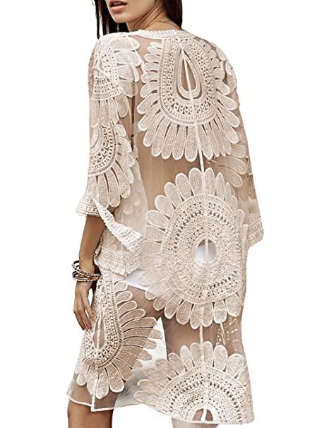 Shermie Womens Floral Crochet Lace Beach Swimsuit Cover Ups Long Vintage Kimono Cardigan Dress