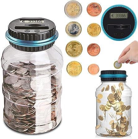 Sunsbell Hucha Contador, Caja de Ahorro de Monedas Euro Dinero Moneda Caja de conteo de Gran Capacidad para Pantalla LCD Caja de Monedas Banco de Ahorro Contenedor para niños (1.8L): Amazon.es: Hogar