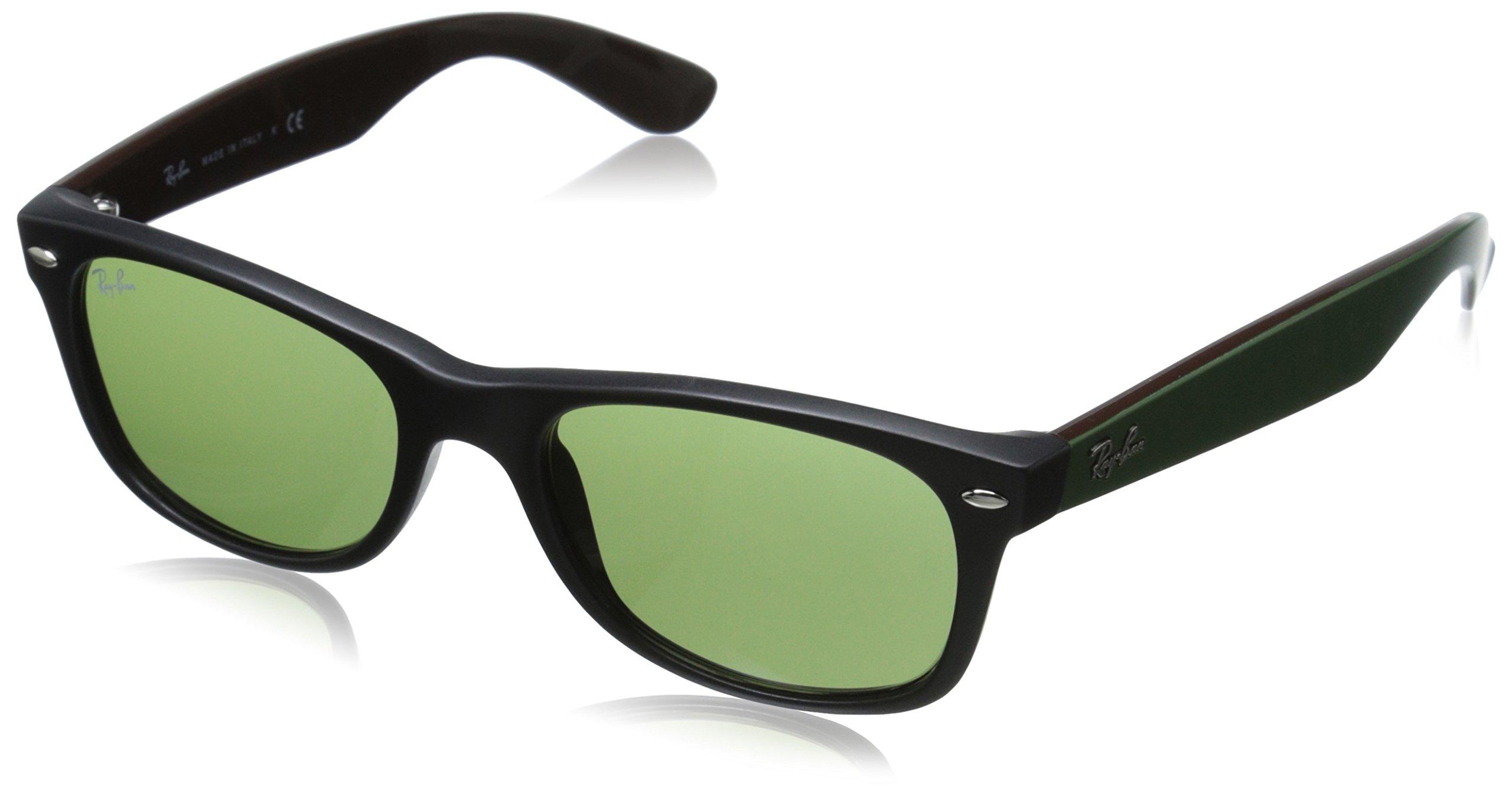 Ray-Ban RB2132 New Wayfarer Non Polarized Sunglasses, Matte Black, Green 52 mm