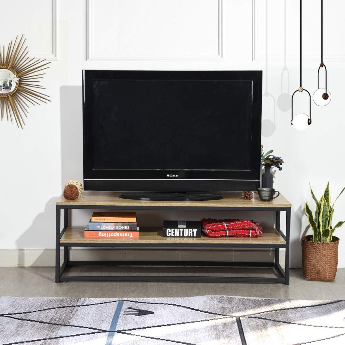 Furnish1 - Mueble de TV multifunción para mesa baja auxiliar (120 x 40 x 42 cm), diseño de 3 estantes de panel acabado de madera y metal pintado, color negro: Amazon.es: Hogar