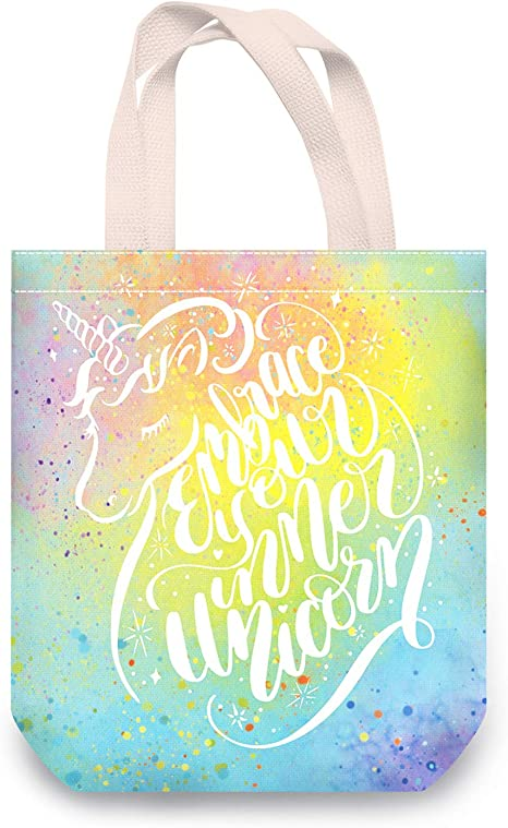 Amazon Com Nymphfable Canvas Bag With Inner Pocket Dream Unicorn Shopping Bags Reusable Canvas Tote Bag Foldable Washable Kitchen Dining