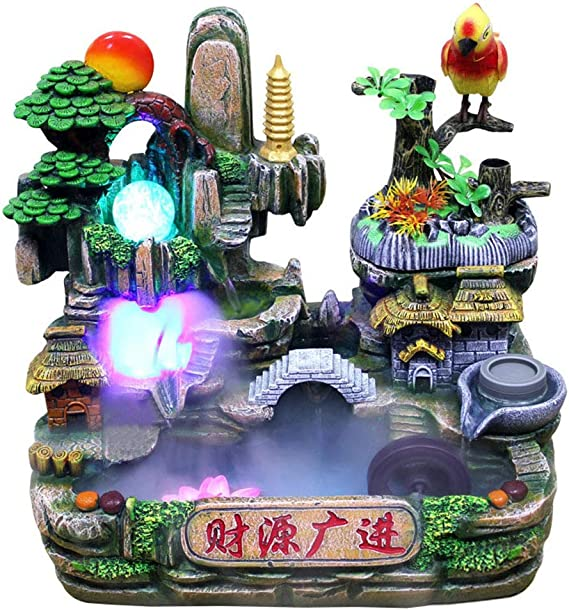Rockery Relaxation Indoor Fountain Waterfall Feng Shui Desktop Water Sound Table Ornaments Crafts Home Decoration Accessories,D