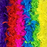 GERW Feather Boa Set of 9 Vibrant Colors Mardi Gras Party 6.6ft Long Feather Boas
