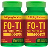 Piping Rock Fo-Ti Root He-Shou-Wu 1000 mg 2 Bottles x 100 Quick Release Capsules Dietary Supplement