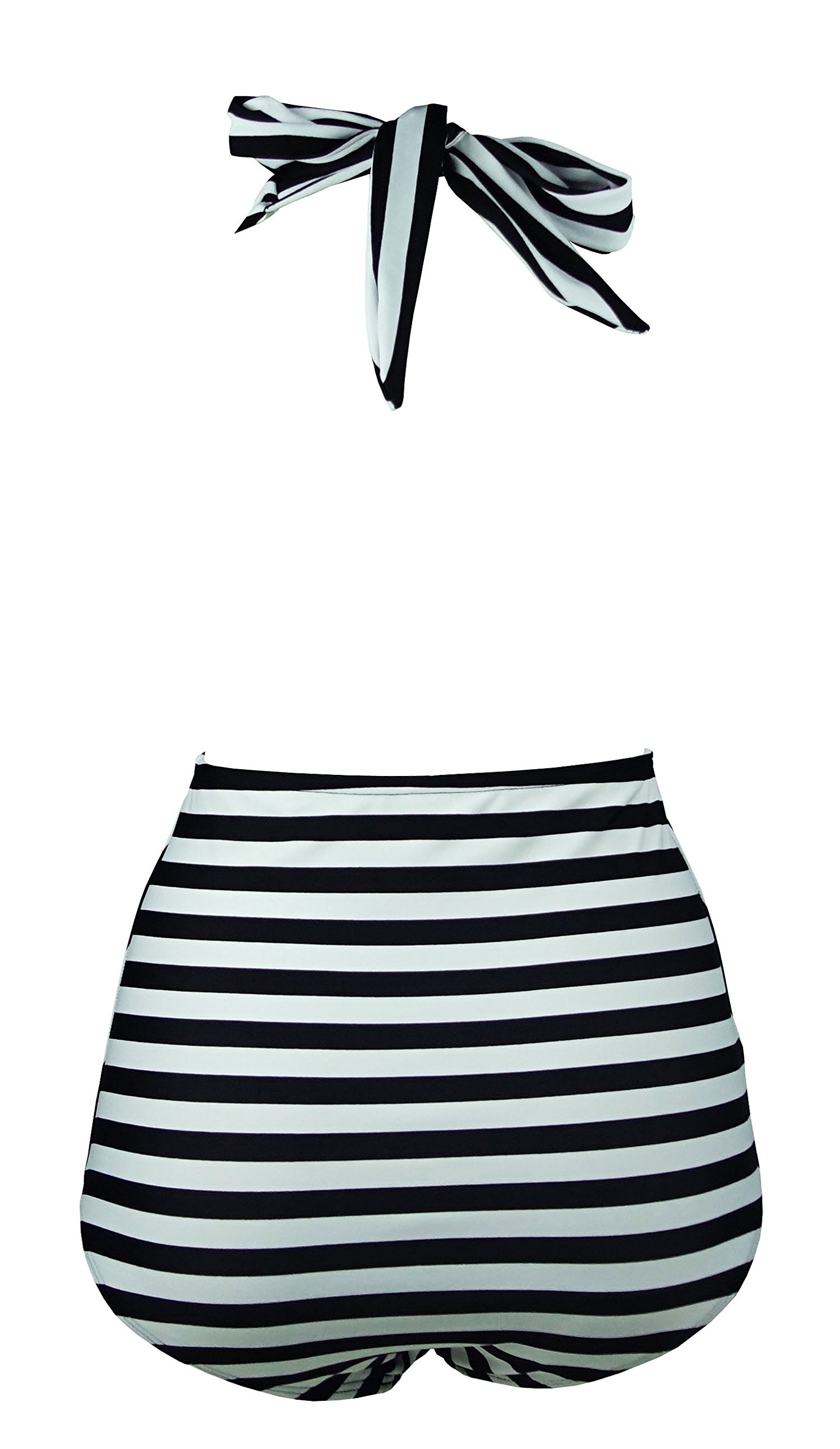 a8fa8ed41 COCOSHIP Black & White Striped Retro One Piece Backless Bather Swimsuit  High Waisted Pin Up Swimwear