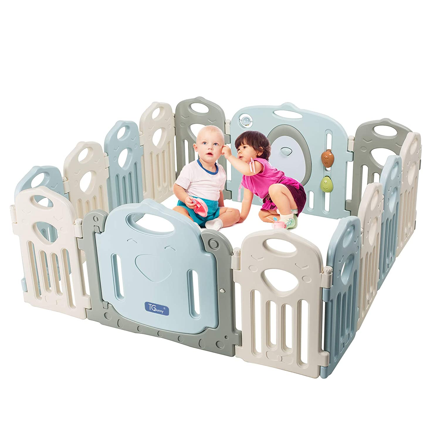 Baby Playpen - Kids 14 Panel Activity Centre Safety Play Yard, Home Indoor Outdoor New Pen TCBUNNY BPY-0003