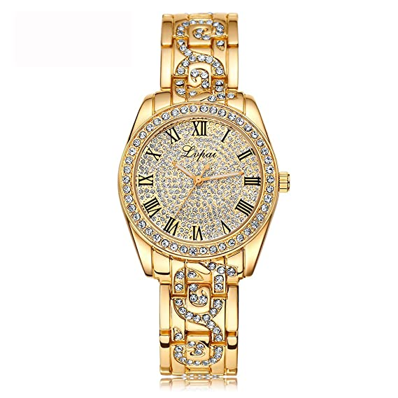 lvpai diamante de la mujer vestido reloj con segunda mano analógico cuarzo números romanos P169