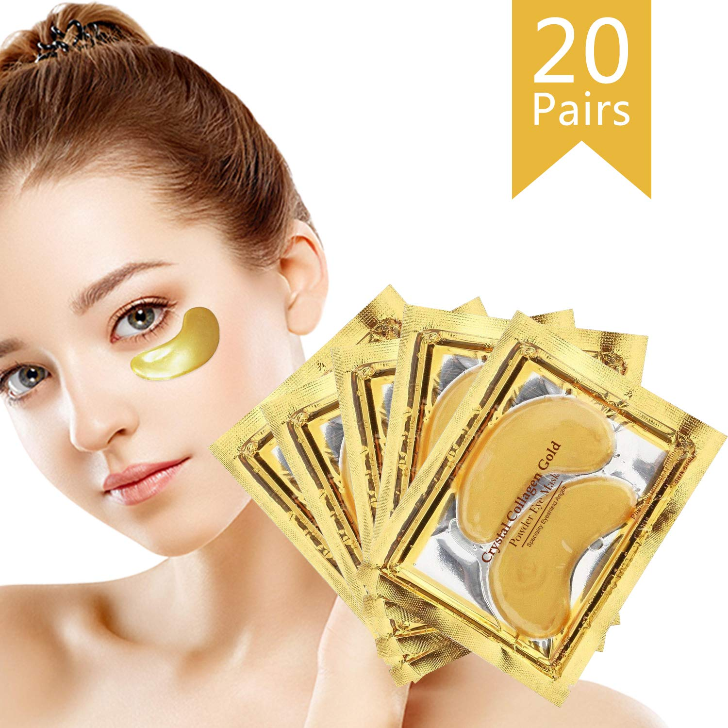24K Gold Powder Collagen Eye Mask, Great for Anti Aging Crystal Gel, Dark Circles, Puffiness and Fine Lines, 100% Collagen Under Eye Pads for Man and Women 20 Pairs by 24K Gold Eye Mask
