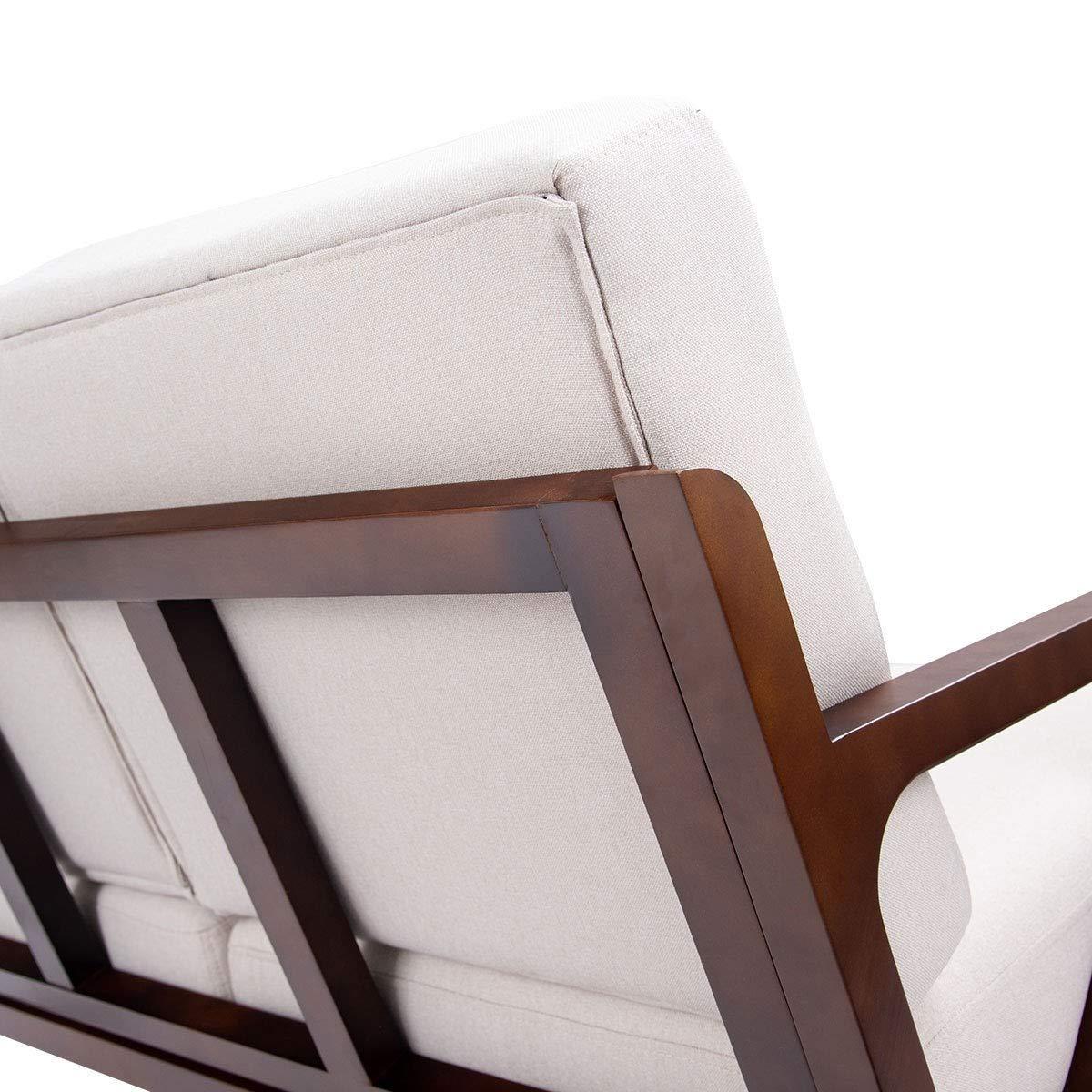 Amazon.com: Mejor sillón tapizado de madera con diseño de ...