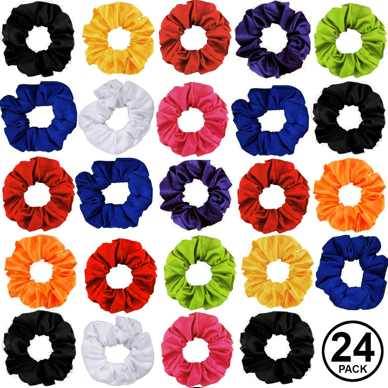 a4495f0247a26 CoverYourHair Pony Holders - Scrunchies for Hair - Scrunchy Hair Ties Bulk (Bright  Colors 24