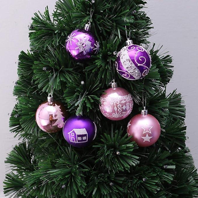 YUnnuopromi Lot de 24 boules de No/ël en plastique de 3 cm /à suspendre pour sapin de No/ël ou d/écoration dint/érieur Argent/é