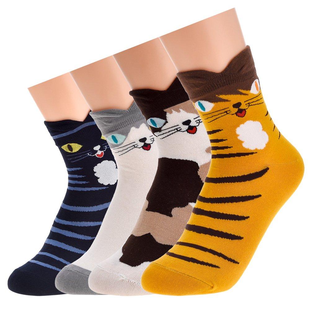 Antner 4-5 Pack Cotton Socks Cartoon Animal Novelty Socks Unisex Thermal Socks ANTNER-SOCK-134C4