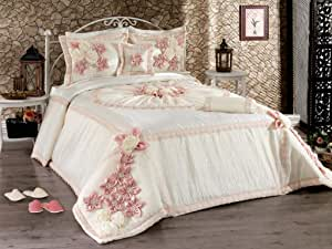 Morena King Size, Cotton,Embroidered Pattern, Off White - Comforter Sets