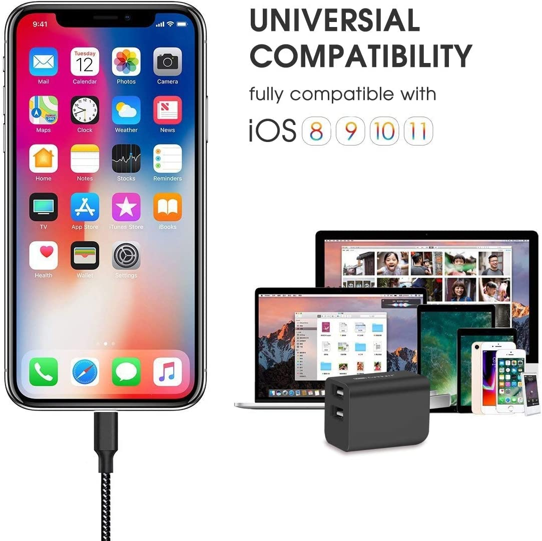 iPad Pro Air Mini,Dual Port Travel Wall Charger Block and USB Data Sync Cord Phone Charger Adapter 6.6ft Cable Compatible iPhone XR//XS//MAX//X //8//8 Plus //7//6 //6s //6s Plus 5S 5 5C SE