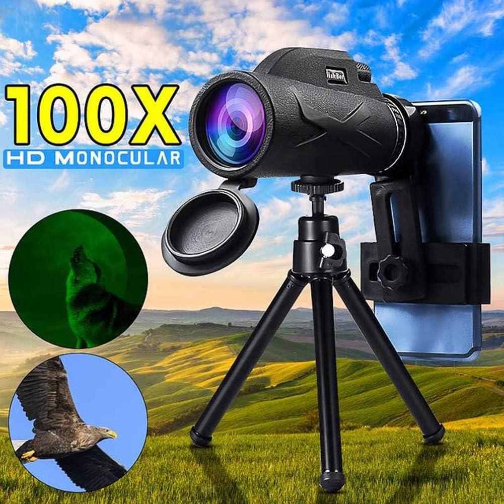 JSX 80X100 Profesional Telescopio Monocular Potente para Móvil Militar Ocular Portátiles Lente Objetivo Caza Óptica: Amazon.es: Deportes y aire libre