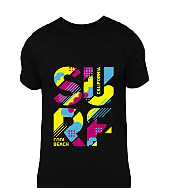 d0609ba8 lazyduke | Graphic Printed T-Shirt for Men |SURF California cool beach  design on black ...