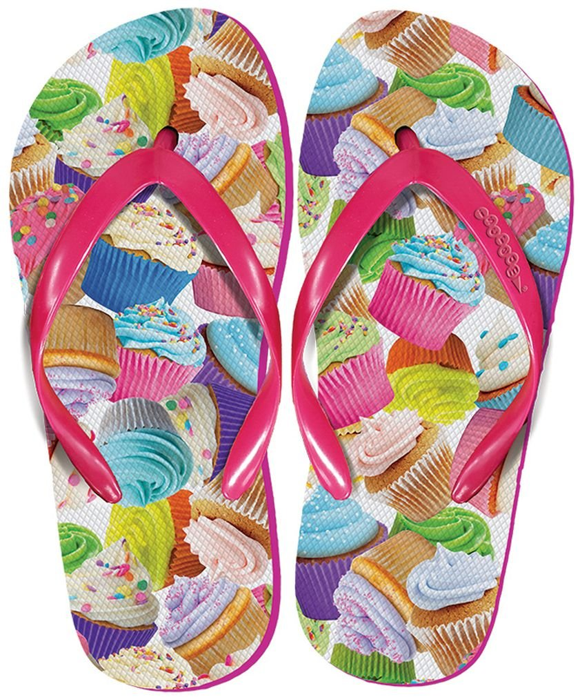 Women's 'FunPrints' Beach and Camp Flip Flops - Cupcakes