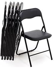 Bricok Set da 6 Sedie Pieghevoli Slim in Metallo, Sedie per Ufficio Casa Campeggio Giardino, con Comoda Seduta Imbottita, 44 x 44 x 78 cm, Nero