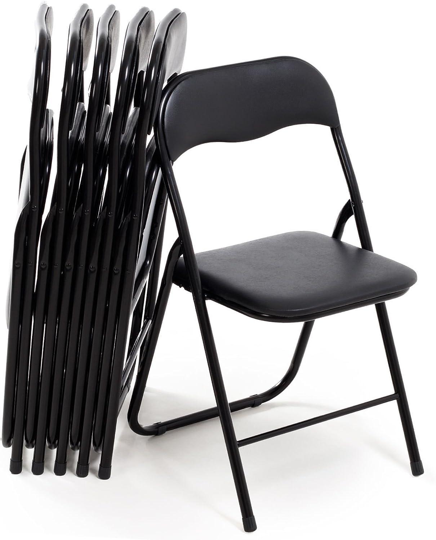 Juego de 6 sillas Plegables Slim de Metal, para Oficina, casa, Camping, jardín, con cómodo Asiento Acolchado, 44 x 44 x 78 cm, Color Negro