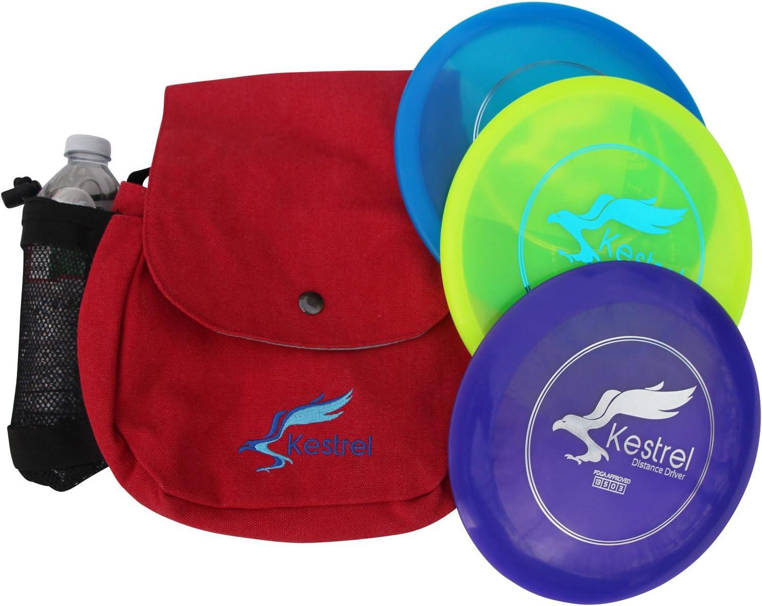 Kestrel Disc Golf Proセット| 3 Disc Proパックバンドル+バッグ|ディスクゴルフセット| Includes距離ドライバー、ミッドレンジとパター|ディスクゴルフセット レッド