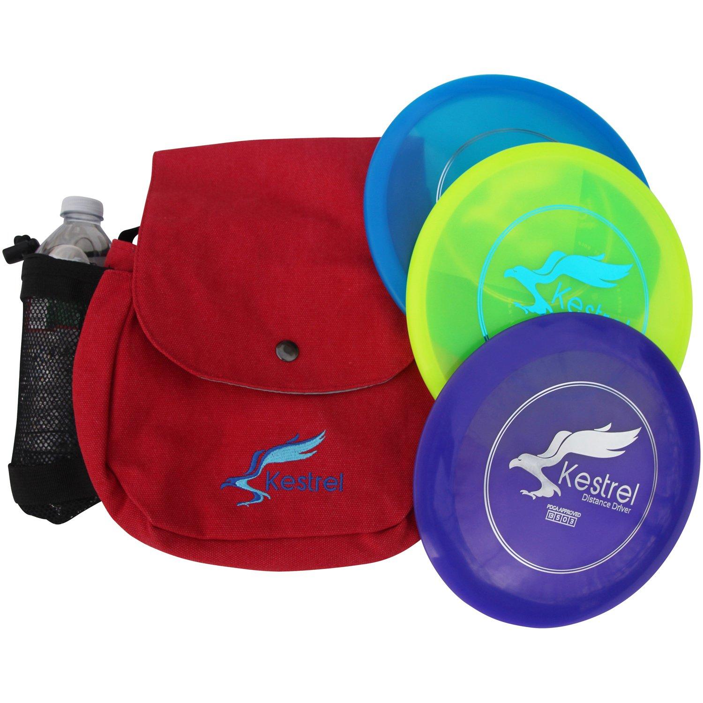 Kestrel Discs Golf Pro Set | 3 Disc Pro Pack Bundle + Red Bag | Disc Golf Set | Includes Distance Driver, Mid-Range and Putter | Small Disc Golf Bag (Red) by Kestrel Discs