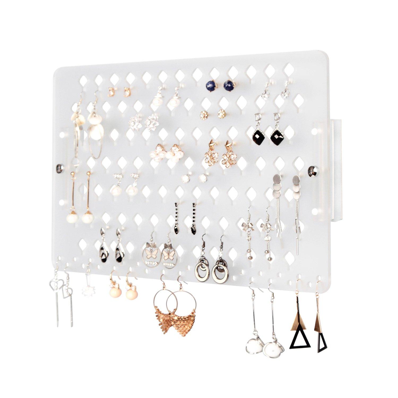 JackCubeDesign Supporto a muro Orecchino Supporto per gioielli Appendino organizer Espositore per scaffali in acrilico trasparente con 94 fori (trasparente, 40 x 24 x 2,3 cm) - MK201B Jack Cube