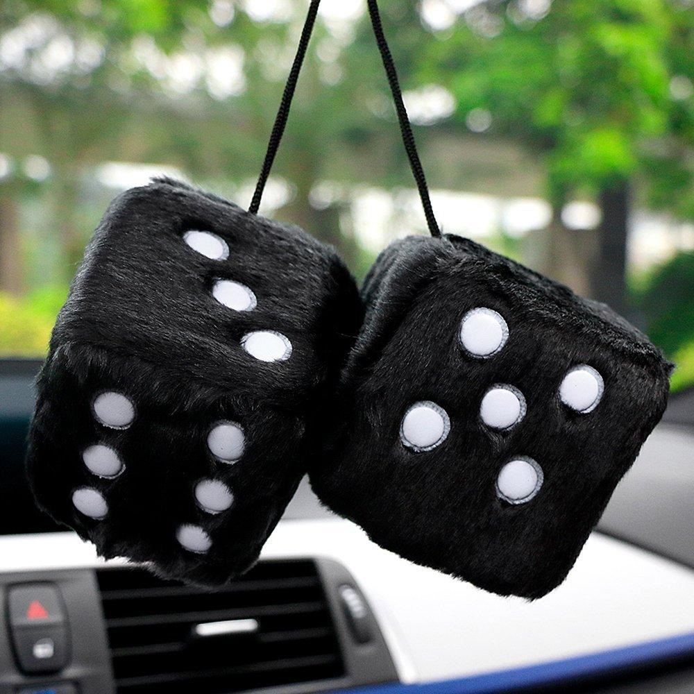 black Houkiper Soft Plush Car Dice Fluffy Dice Car Hanging Rear Mirror Deco Pendant Ornament
