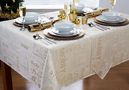 Christmas Table Runner Uk.Xmas Text Gold Cream Christmas Table Runner 13x70in 33x178cm Approx