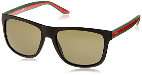 8c49bf5e30e Image Unavailable. Image not available for. Colour  Gucci Gucci 1118 S 0M1A Black  Green Red 1E green lens Sunglasses