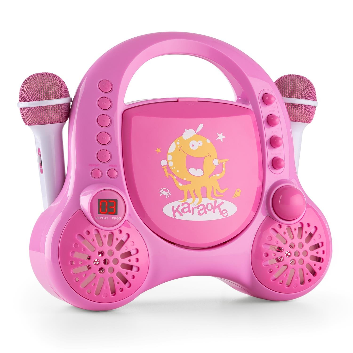 Pink a auna RockpocketA Kids Karaoke Player System • CDPlayer • AUX • 2 x Microphones • Stereo Speakers • Carrying Handle On the Top • Rounded Body Design with No Sharp Corners • BuiltIn Battery • Pink
