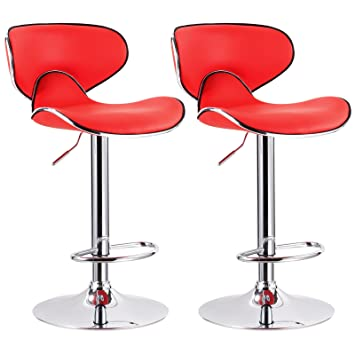 WOLTU New Modern Red Bar Stools Adjustable Synthetic Leather Swivel  Hydraulic Kitchen Stools Chairs Set Of