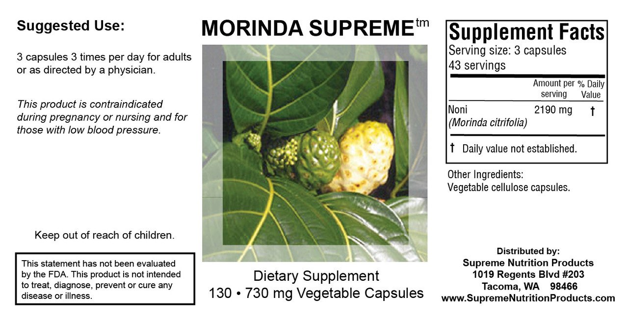 Supreme Nutrition Morinda Supreme, 130 Whole Noni Fruit Capsules by Supreme Nutrition (Image #1)