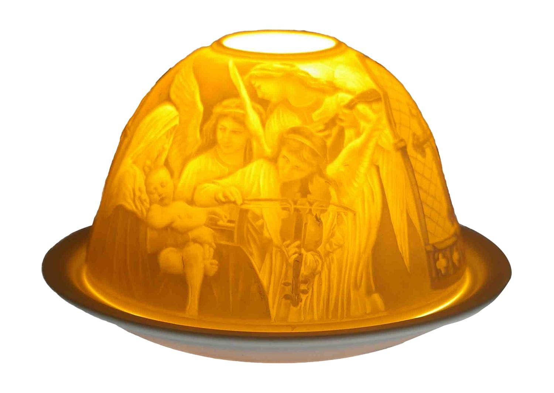 Him Dom Light Angels Concert Portacandela Antivento, Ceramica, Bianco, 11x11x9 cm DL0037