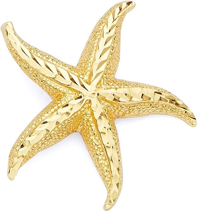 14k Yellow Gold Diamond Star Charm\u2013 E14YC113 9x7mm