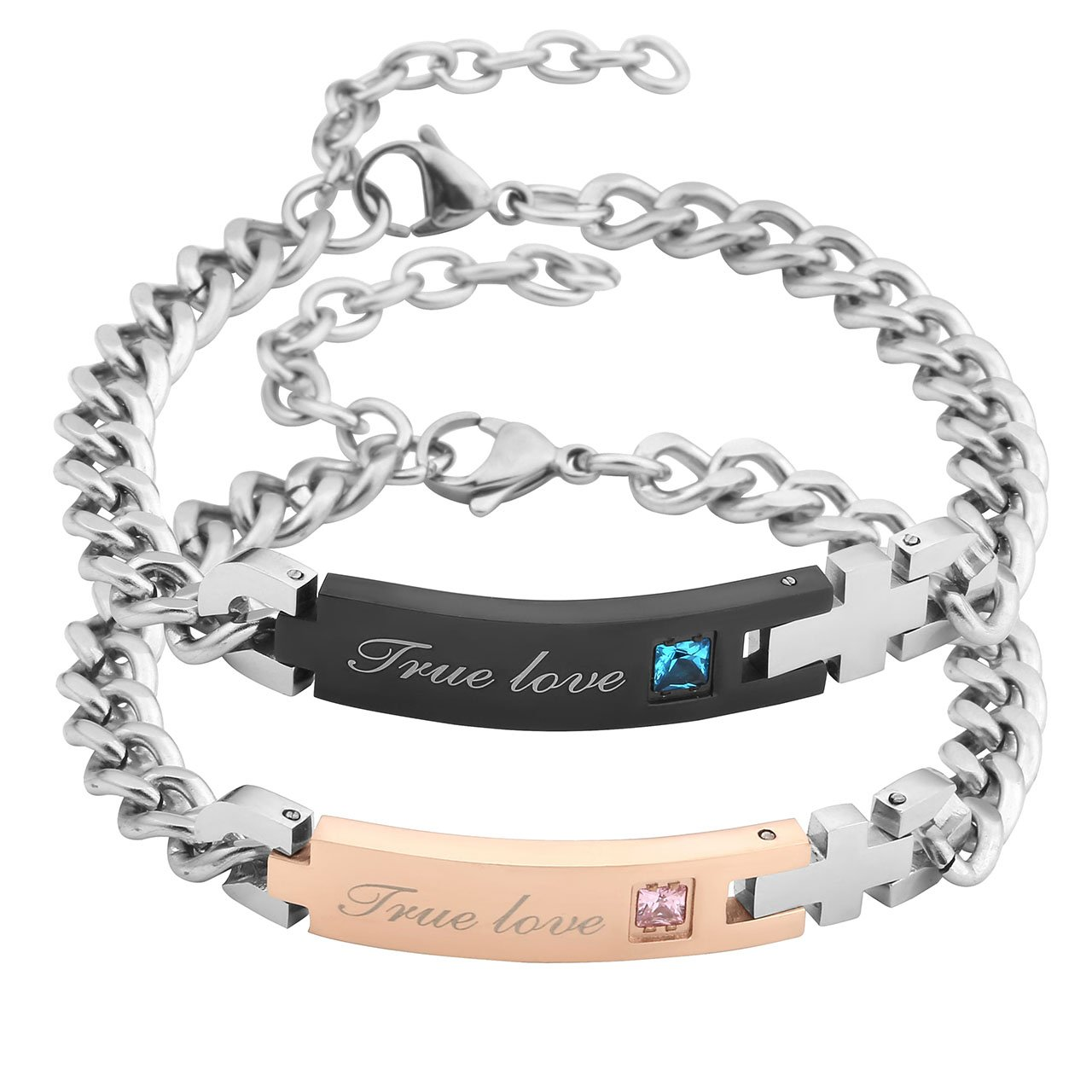 Jovivi Men Women Stainless Steel CZ True Love Couples Bracelets Matching Set in Gift Box