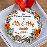 First Christmas Married Ornament 2018 Personalized - Gift for Newlyweds in Gift Box