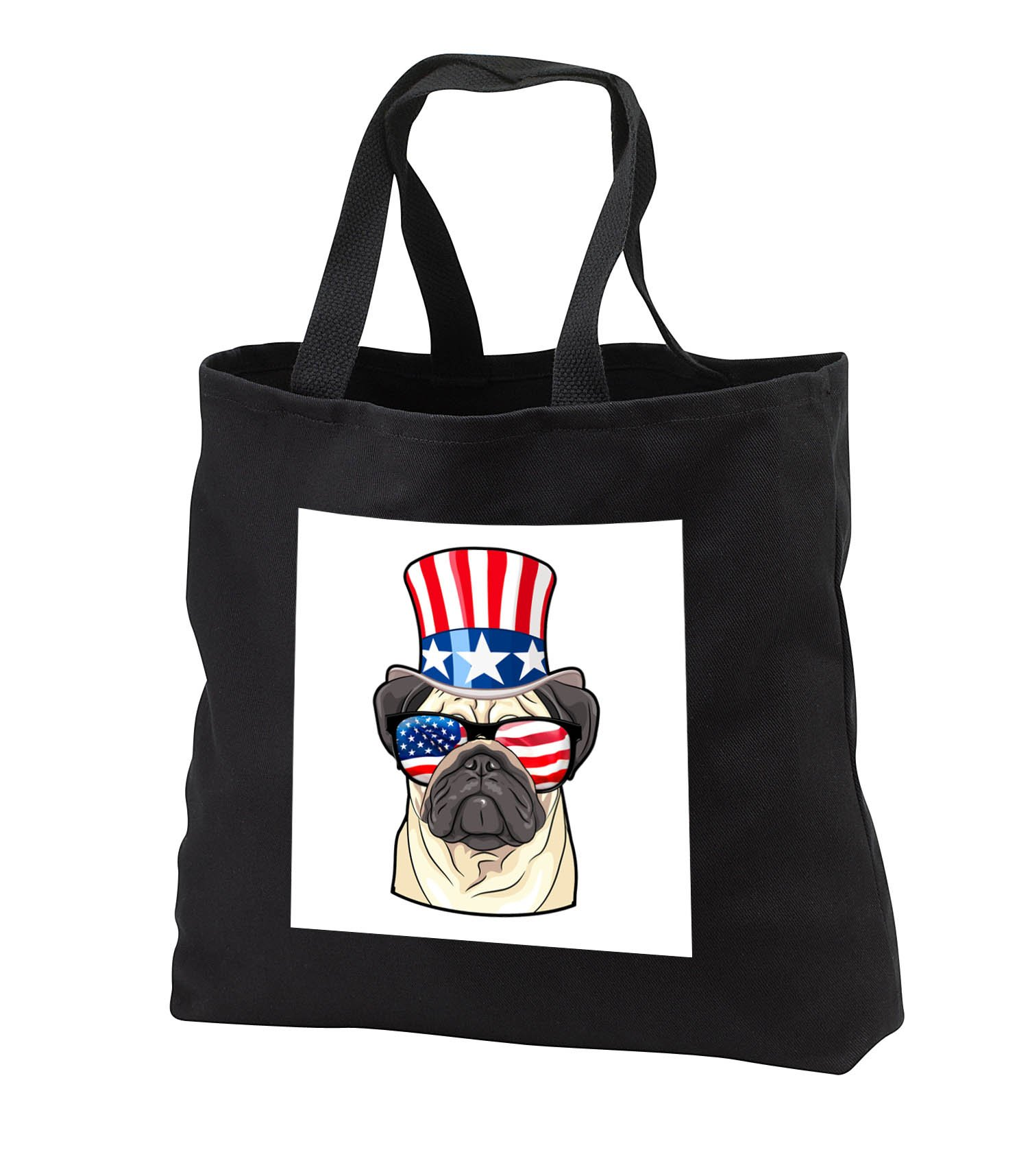 Patriotic American Dogs - Pug Dog With American Flag Sunglasses and Top hat - Tote Bags - Black Tote Bag 14w x 14h x 3d (tb_282706_1)