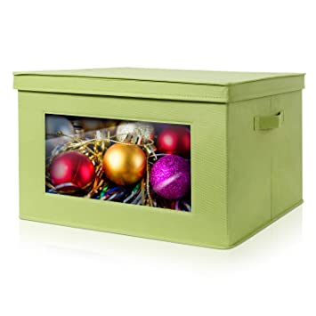Lifewit Large Capacity Christmas Ornament Storage Box with Clear Window,  Durable Storage Bin Basket Containers - Amazon.com: Lifewit Large Capacity Christmas Ornament Storage Box