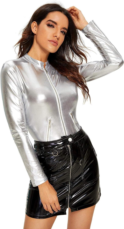 Verdusa Womens Long Sleeve Faux Leather Zip Detail Bodycon Clubwear Bodysuit