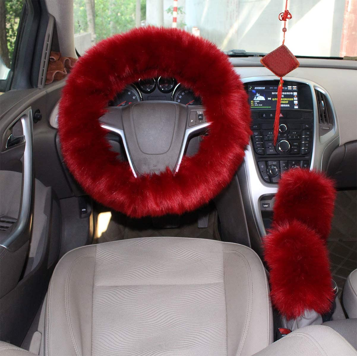 GIJITIF 1 Set 5 Pcs Car Steering Wheel Cover with Handbrake Cover /& Gear Shift Cover /& Seat Belt Shoulder Pads Fluffy Soft Warm in Winter 15 Inch Deep Pink