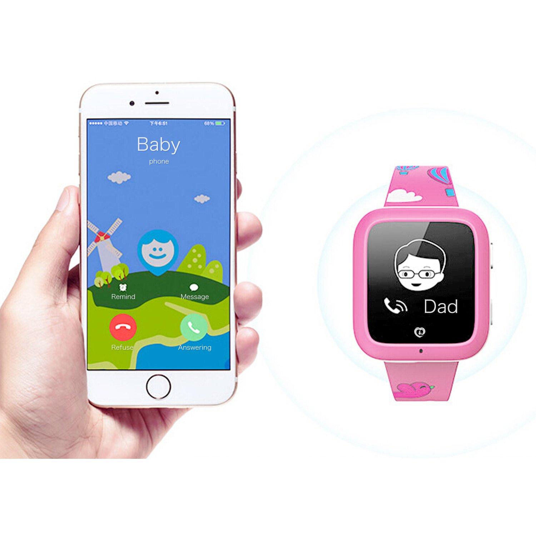 Misafes montres intelligentes, enfants SOS Smartwatch téléphone GPS Tracker anti-perte enfants montre-bracelet pour bébé, garçons, filles (rose): Amazon.fr: ...