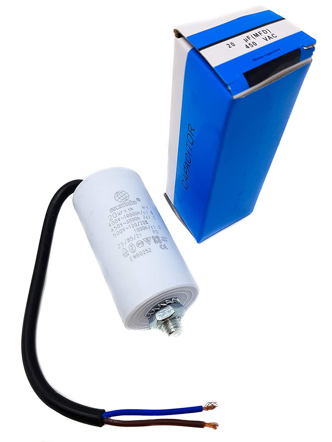 450 V White Universal Start//Run Capacitor with Cable 20 mF