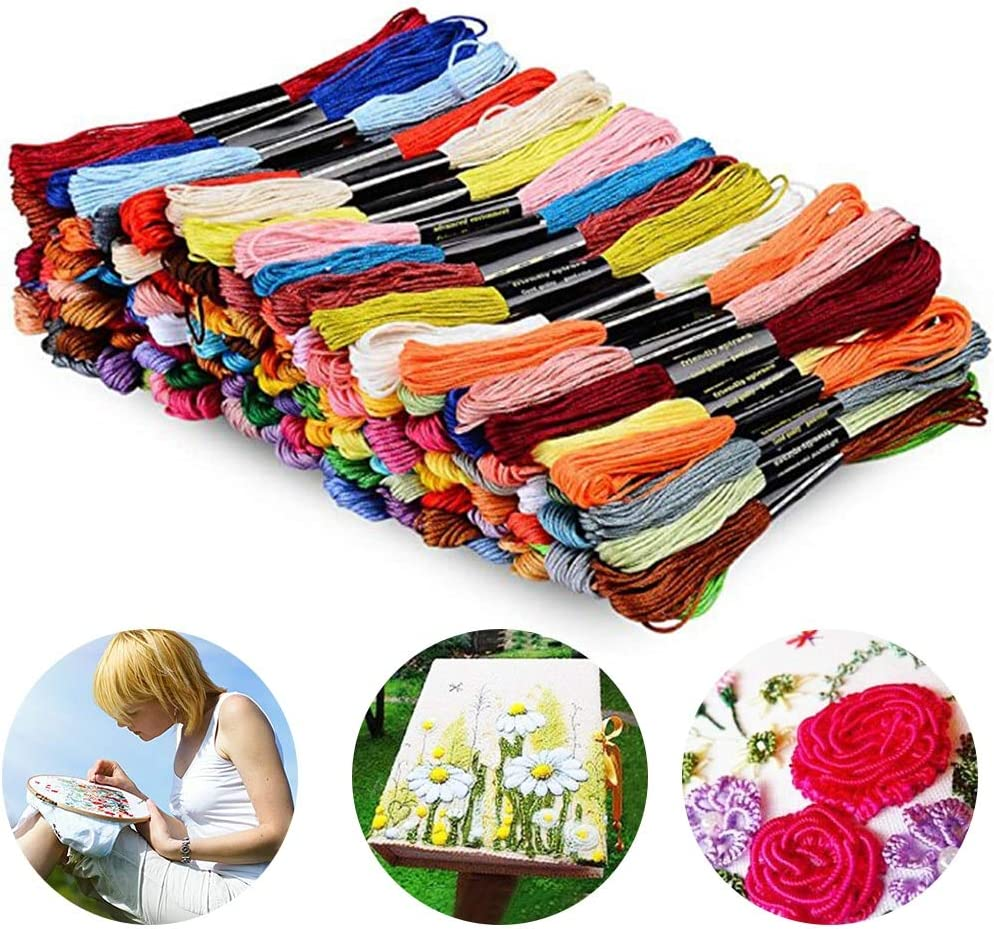 124 Skeins Embroidery Floss Rainbow Colors DIY Cross Stitch Thread with Needles for Friendship Bracelets
