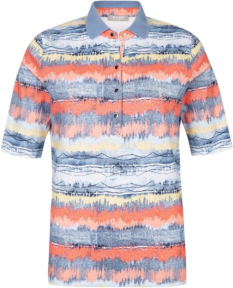 Rabe Damen Poloshirt mit Denim-Print und Knopfleiste