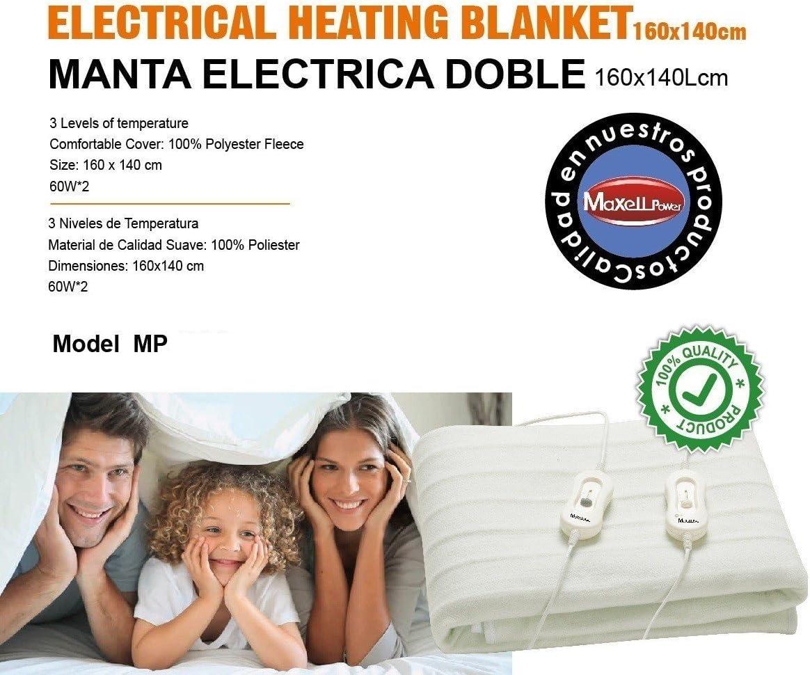 MANTA ELECTRICA DOBLE 160X140CM 3 NIVELES DE TEMPERATURA en Rebaja ...