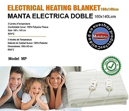 MANTA ELECTRICA DOBLE 160X140CM 3 NIVELES DE TEMPERATURA en Rebaja