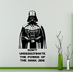 Star Wars Wall Decals Darth Vader Poster Don't Underestimate The Power of The Dark Side Vinyl Sticker Home Teen Star Wars Characters Sith Lord Kids Room Nursery Art Decor Stencil Mural (34sw)