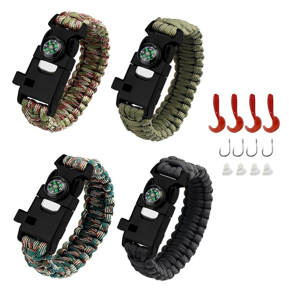 AMOSTING 4PCS Survival Bracelet, Multifunctional Adventure Outdoor Paracord Bracelet Flint Fire Starter,Compass, Whistle&Knife, Food Fishing GearScraper Hiking Camping Emergency