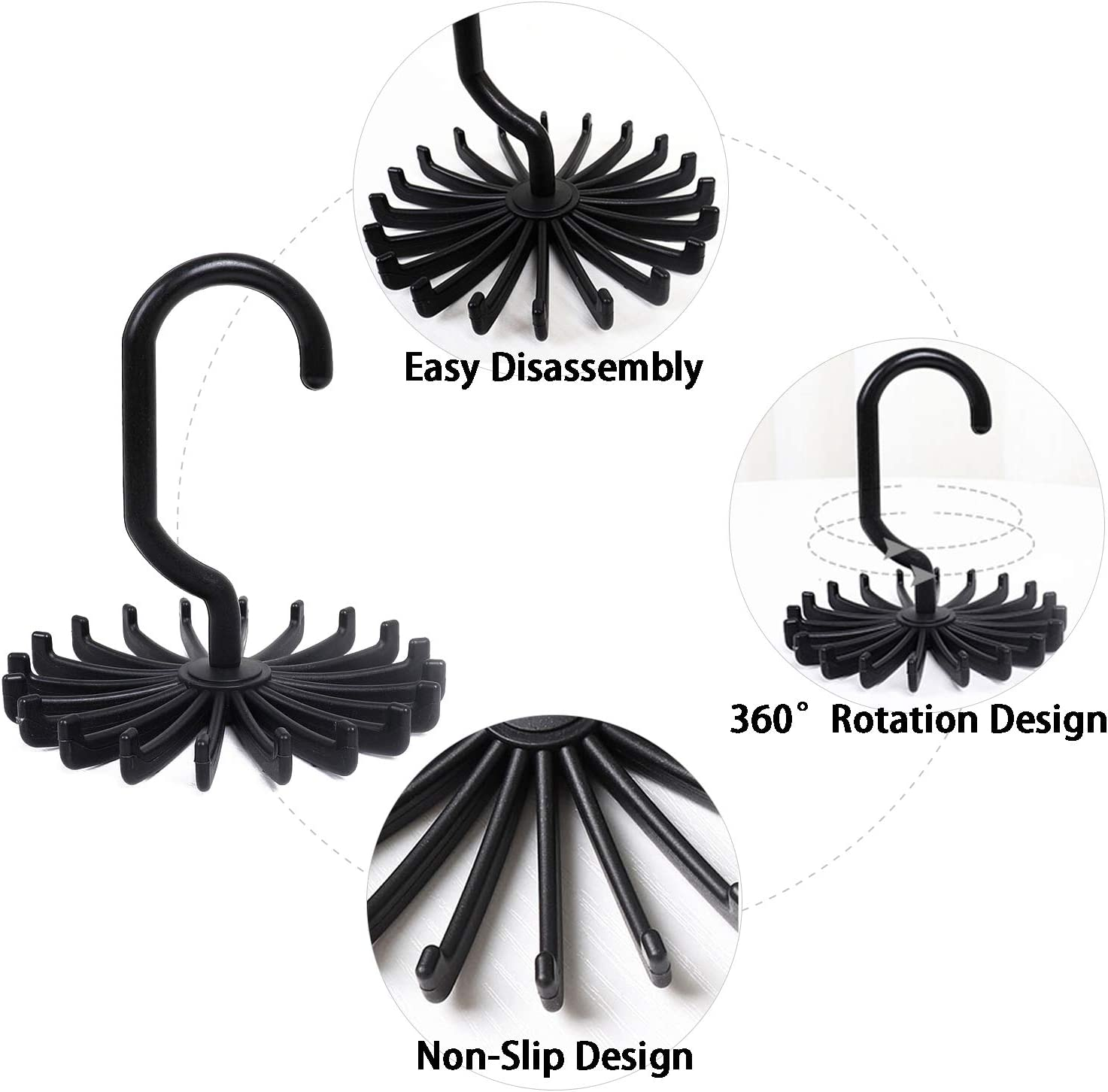 Multipurpose Organizer Gizhome 8 Pack 360 Degree Rotating Scarf Hanger Adjustable Twirl Plastic Tie Rack Tie Belt Black, 4.4 Hook Ties Scarf for Closet Storage