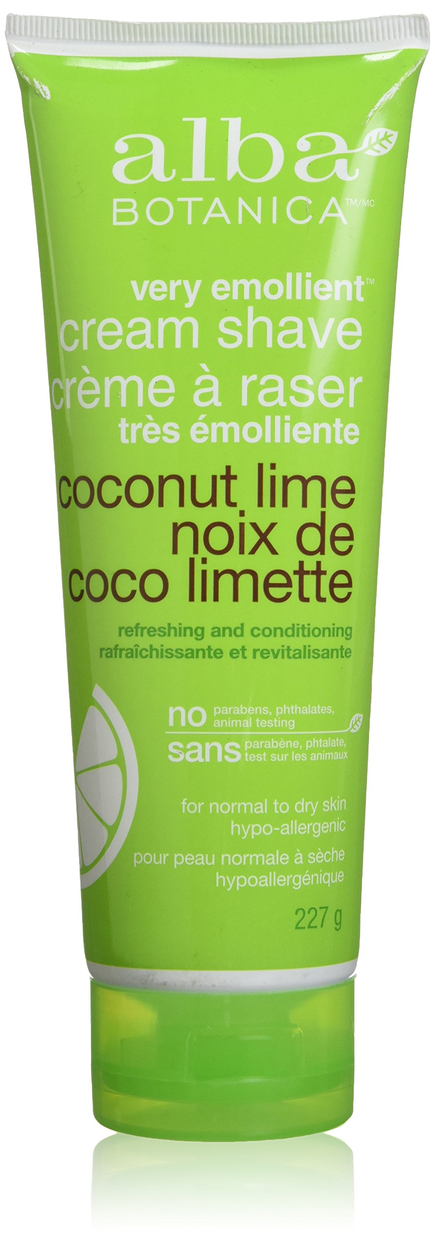 Alba Botanica Coconut Lime Very Emollient Cream Shave, 8 Ounce Bottles (Pack of 4)